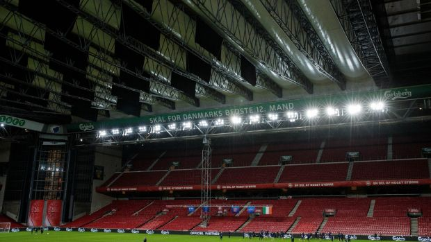 The Republic of Ireland train under a closed roof at the Parken Stadium. Photograph: Ryan Byrne/Inpho