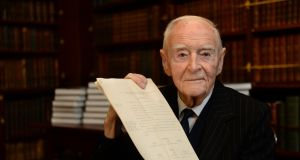 Former taoiseach Liam Cosgrave, who died last month, pictured in 2014 when he donated the papers of his father, W.T. Cosgrave, to the Royal Irish Academy. Photograph: Dara Mac Dónaill.