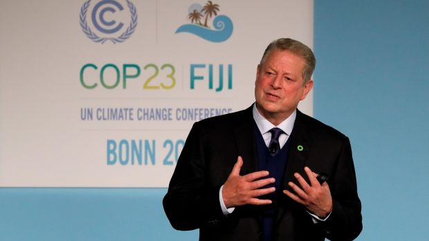 Former US vice- president and Nobel Laureate Al Gore at the UN Climate Change Conference COP23 in Bonn, Germany. Photograph: EPA