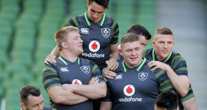 Ireland players get ready for the squad photograph after the  Captain's Run at  the Aviva Stadium on Friday. Photograph: Dan Sheridan/Inpho