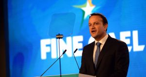 Taoiseach Leo Varadkar during his address at Sliabh Russell Hotel, Ballyconnell. Photograph: Cyril Byrne