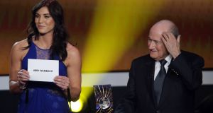 USA goalkeeper Hope Solo has accused  former Fifa president  Sepp Blatter of a sexual assault during the Ballon d'Or Gala in Zurich in January 2013. Photograph:  Christof Koepsel/Getty Images