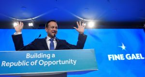 Taoiseach Leo Varadkar: seemed preoccupied with trying to figure out how he might prise his hands from the lectern, to which they seem to have been nailed for his rather robotic performance. Photograph: Clodagh Kilcoyne