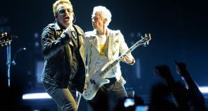 U2 in concert at the SSE Arena in Belfast. Photograph: Eric Luke/The Irish Times
