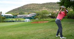 Scotland's  Scott Jamieson  hits his second shot on the 18th hole during the third round of the Nedbank Golf Challenge at Gary Player CC  in Sun City, South Africa. Photograph: Warren Little/Getty Images