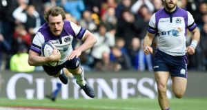 Scotland's Stuart Hogg scores a try during the autumn international against Samoa  at BT Murrayfield. Photograph: Ian Rutherford/PA Wire