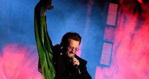 Bono performs with  U2  in Trafalgar Square in central London tonight during the MTV Presents Trafalgar Square show ahead of the MTV Europe Music Awards tomorrow night. Photograph: Chris J Ratcliffe/AFP/Getty Images