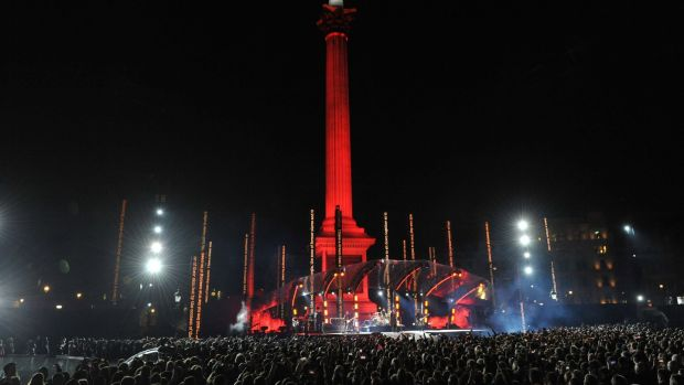 U2 perform in Trafalgar Square, London, tonight, ahead of the MTV Europe Music Awards tomorrow. Photograph: Nick Ansell/PA Wire