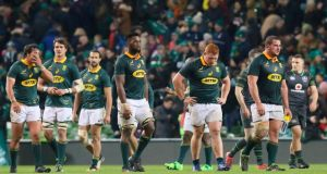 South Africa's players react to their defeat  at the Aviva Stadium. Photograph: Getty Images