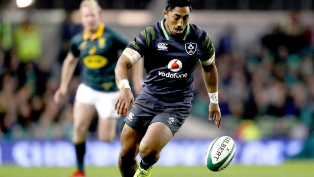 Ireland's Bundee Aki in action during the the Guinness Series match against South Africa at the Aviva Stadium. Photograph: Dan Sheridan/Inpho