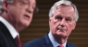 Britain's chief Brexit negotiator David Davis (left) and EU's chief Brexit negotiator Michel Barnier in Brussels on November 10th, 2017. Photograph: AFP/Getty Images