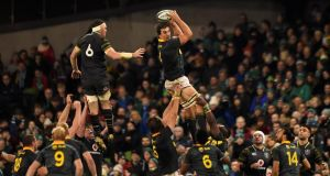 South Africa's Eben Etzebeth wins a lineout ahead of Ireland's Peter O'Mahony during the autumn international at the Aviva Stadium. Photograph: Clodagh Kilcoyne/Reuters