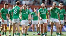 Ireland players show their dejection after defeat in the first International Rules Test  at the Adelaide Oval. Photograph: Tommy Dickson/inpho