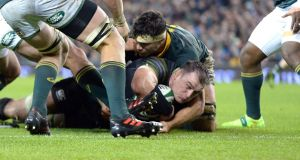 Rhys Ruddock scores his try against South Africa. Photograph: Cyril Byrne