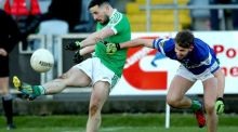 Niall Hurley-Lynch scores Moorefield's winner against Portlaoise. Photograph: James Crombie/Inpho