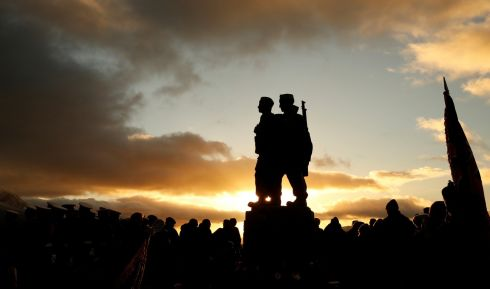 COMMANDO MEMORIAL: Veterans attend a Service of Remembrance at the Commando Memorial at Spean Bridge, Scotland. Photograph: Russell Cheyne/Reuters