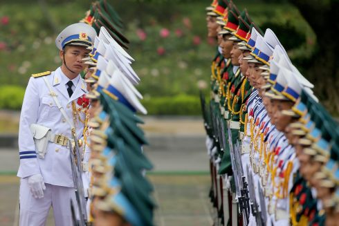 TRUMP WELCOME: A member of the honour guard checks the line before the welcome ceremony for US president Donald J Trump at the Presidential Palace in Hanoi, Vietnam.  Photograph: Luong Thai Linh/EPA