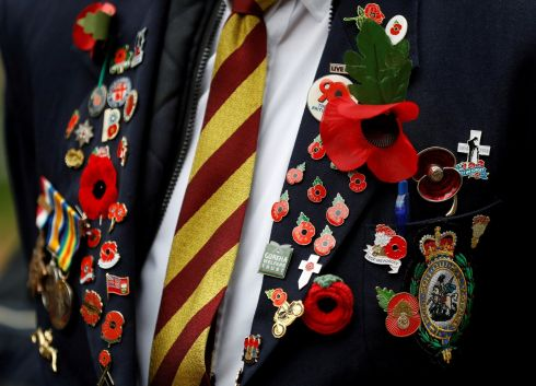 POPPIES AND PRIDE: A member of the Royal British Legion wears pin badges and poppies at the Field of Remembrance in London. Photograph: Peter Nicholls/Reuters