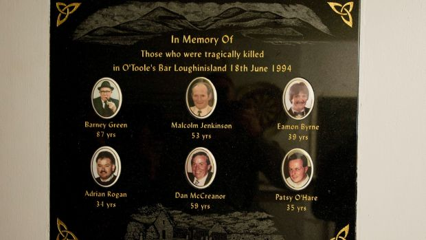 A plaque on the wall of O'Tooles bar in Loughinisland, Co Down to remember those murdered on June 18th, 1994. Photograph: Mark Marlow/Pacemaker