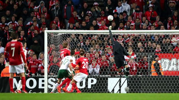 Ireland's Darren Randolph knocks Yussuf Poulsen's close-range header over the bar in the dying minutes of Saturday's World Cup first-leg play-off against Denmark in Copenhagen. Photograph: James Crombie/Inpho