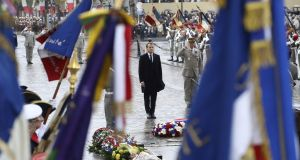 French president Emmanuel Macron at a wreath-laying ceremony at the Arc de Triomphe in Paris  during Armistice Day commemorations on Saturday. Photograph: Jacques Demarthon/AFP/Getty Images