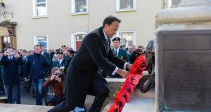 Taoiseach Leo Varadkar lays a wreath at the war memorial in Enniskillen, Co Fermanagh. Photograph: Ronan McGrade/Pacemaker