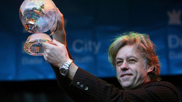 Photograph from March 2006 of Bob Geldof receiving the Freedom of Dublin City in a ceremony outside the Mansion House. The singer and businessman has said he will hand the award back, saying he does not want to be associated with it while it is also held by Myanmar leader Aung San Suu Kyi. File photograph: Julien Behal/PA Wire