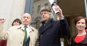 Bob Geldof with Independent councillor Mannix Flynn  at Dublin City Hall where he returned his freedom of the city award. Photograph: Cyril Byrne