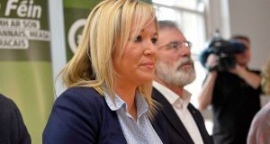 Sinn Fein's Northern Ireland leader Michelle O'Neill with Sinn Fein President Gerry Adams. File image:  Mark Marlow/PA Wire