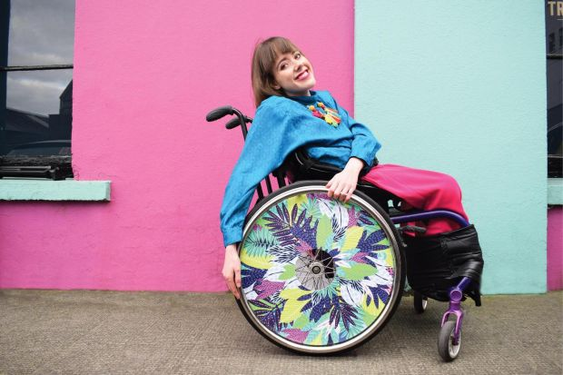 Isabel Keane is a fan of florals and bright colours. Kim Sielbeck wheel cover. Photo Ailbhe Keane