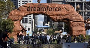 Attendees arrive at Dreamforce in San Francisco, California. Photograph: Michael Short/Bloomberg