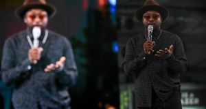 Will.i.am, chief creative officer of 3d Systems Corp, speaking at Dreamforce. Photograph: Michael Short/Bloomberg