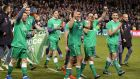 Republic of Ireland players celebrate after beating Bosnia and Herzegovina to qualify for the 2016 European Championships. Photo: Morgan Treacy/Inpho