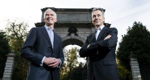 Business Growth Fund chief executive Stephen Welton and Leo Casey, head of BGF in the Republic, at the launch in Dublin of a €250 million fund for Irish SMEs.