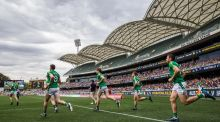 Ireland make their way on to the pitch for their first Test against Australia this year in Adelaide. Photograph: Tommy Dickson/Inpho