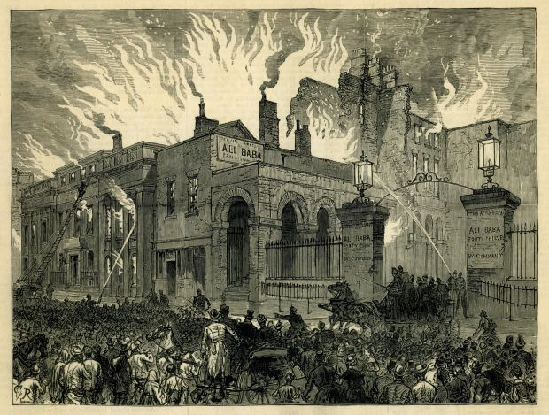 Theatre Royal Dublin: the fire that destroyed the first venue, in 1880, after an accident with a gas lamp at a matinee. From the Illustrated London News