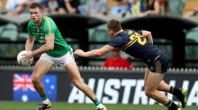 Ireland's Pearce Hanley in action at Sunday's  International Rules series first Test against Australia. Hanley is ruled out of the second Test due to injury. Photograph: Tommy Dickson/Inpho