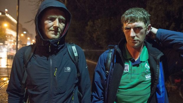 Brothers Andrew and John McDonnell, who both sleep rough in Dublin. Photograph: Dave Meehan