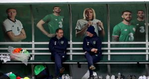 Ireland manager Martin O'Neill and assistant manager Roy Keane at the team's training grounds. O'Neill said Denmark have the players to exploit space. Photograph: Ryan Byrne/Inpho