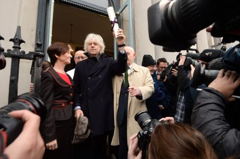 ROHINGYA CRISIS: Bob Geldof returns his Freedom of the City of Dublin award at City Hall, in protest over the fact the award is also held by Aung San Suu Kyi. Photograph: Cyril Byrne/The Irish Times