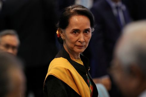 ASEAN SUMMIT: Myanmar leader Aung San Suu Kyi attends the opening session of the Asean summit in Manila, Philippines. Photograph: Athit Perawongmetha/Reuters