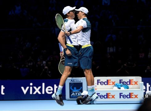 NET RESULT: The US's Bob Bryan and Mike Bryan celebrate winning their group stage match at the ATP World Tour Finals in London, Britain. Photograph: Tony O'Brien/Action Images via Reuters