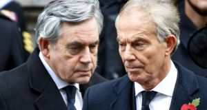 Former British prime ministers Gordon Brown and  Tony Blair. Brown's memoirs 'remind us that no living prime minister thinks Brexit is a good idea'. File photograph: Tolga Akmen/AFP/Getty