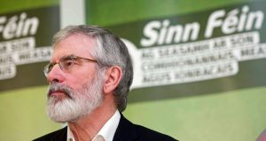 "The   breakdown of the powersharing talks has been linked to a ""historic"" speech from Gerry Adams at the Sinn Féin ardfheis in Dublin on Saturday when he declares his future intentions. Photograph:   Mark Marlow/PA"