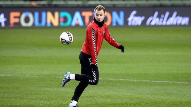 Christian Eriksen will again be the danger man for Denmark on Tuesday night. Photograph: Ryan Byrne/Inpho