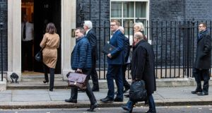 Business leaders including Ibec chief Danny McCoy (second business leader from left) arrive at 10 Downing Street to meet British prime minister Theresa May. Photograph: Jack Taylor/Getty Images