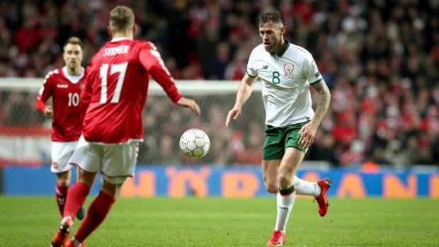 Republic of Ireland striker Daryl Murphy in the first leg. Photograph: Ryan Byrne/Inpho