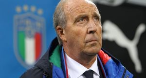 Italy manager Giampiero Ventura ahead of his team's 0-0 draw with Sweden at San Siro. Photograph: Marco Luzzani/Getty Images