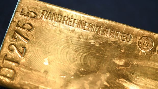 A gold bar is presented at the German Central Bank in Frankfurt am Main, central Germany. Photograph: Getty Images