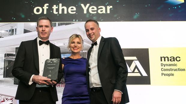 Damian Lynch, Managing Director, Etag Fixings presents the Fit Out Contractor of the Year award to David Caulfield and Tiffany Quinn